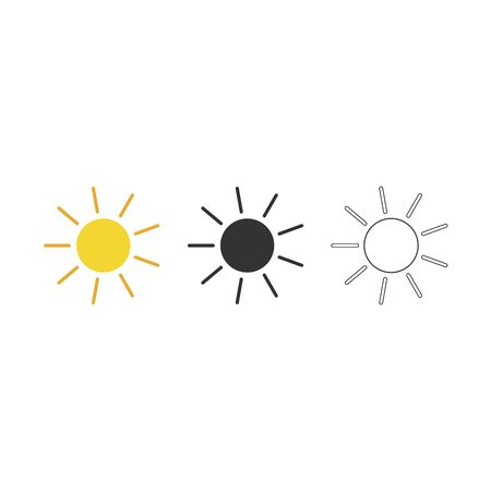 Sun icons collection yellow black and outline set. Vector illustration. 向量圖像
