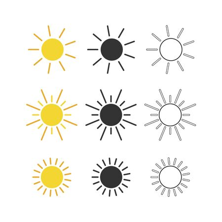 Sun icons collection yellow black and outline set. Vector illustration