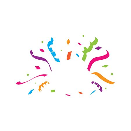 Vector illustration of a colorful party background with confetti and space for your text on white background