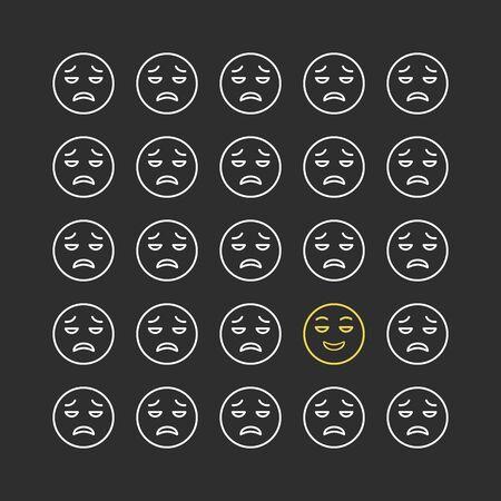 Set of smile emoticons. Line icons emoticons. Happy and unhappy smileys. Emoji set. Vector illustration