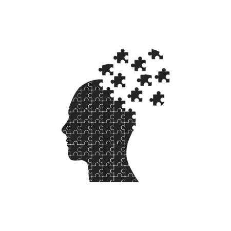 the head of the person consisting of puzzles