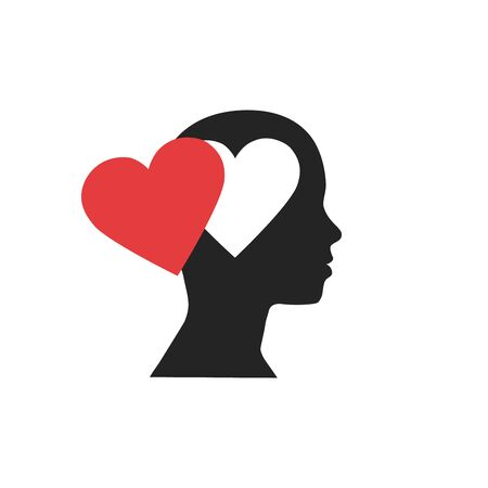 Woman head silhouette with brain and heart inside, isolated on white background. Love, creativity, intelligence and emotion concept. Flat design. Vector illustration. 向量圖像