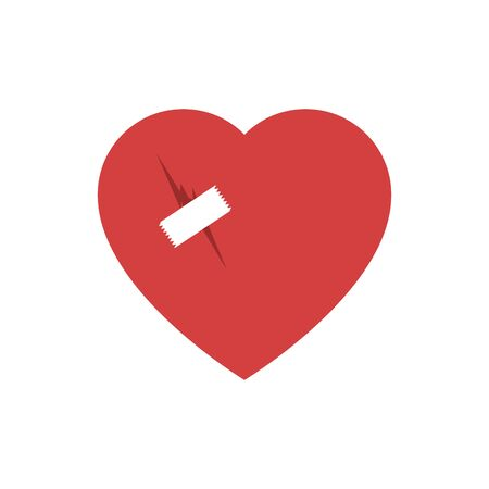 Broken heart flat icon with patch 向量圖像