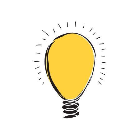 Hand-drawn light bulbs, symbol of ideas ,Vector illustration
