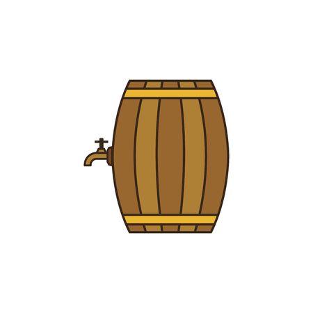Doodle colorful barrel icon isolated on white background 向量圖像