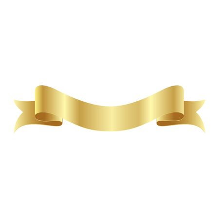 Gold Ribbon InIsolated For Celebration And Winner Award Banner White Background, Vector Illustration can use for anniversary, birthday, party, event, holiday And religious day 矢量图像