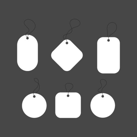Blank white paper price tags or gift tags in different shapes. Set of labels with cord. 向量圖像