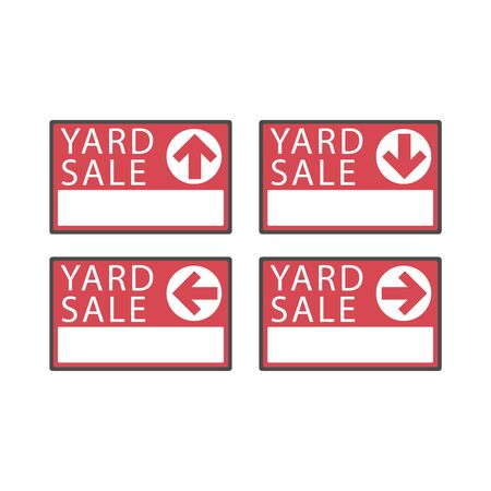 Yard sale red sign with copy space isolated on a white background, vector illustration