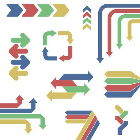 Set of flat infographics arrows. 向量圖像