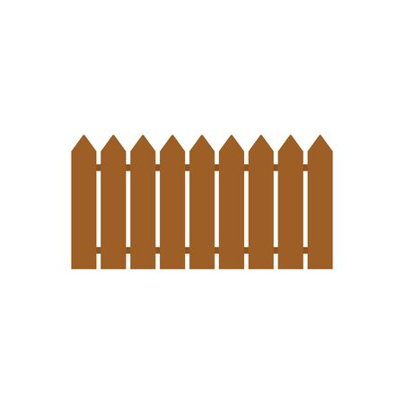 Colored flat icon, vector design with shadow. Part of wooden fence for illustration of hedge, exterior, border of territory and house garden. 向量圖像