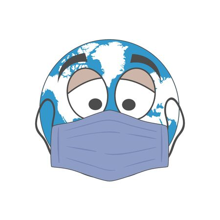 The earth with sad eyes and face mask. Covid time Stay at home
