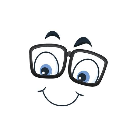 Cartoon kawaii eyes and mouths on white background. Cute emoticon emoji characters in flat style. Vector emotion smile cartoon