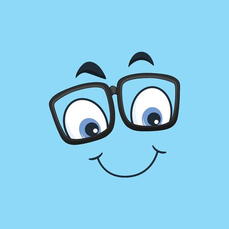 Cartoon kawaii eyes and mouths on blue background. Cute emoticon emoji characters in flat style. Vector emotion smile cartoon