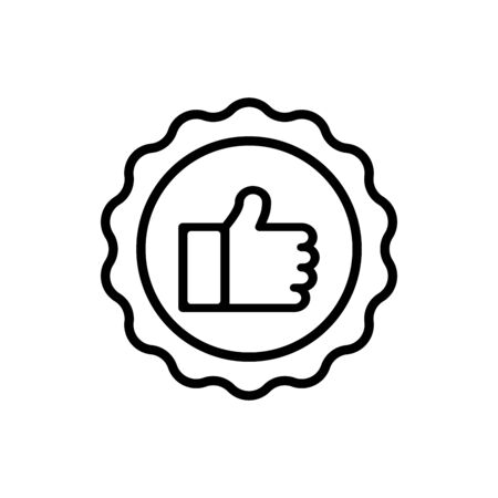 Recommend icon. Premium quality, best choice, certified, approved, positive review concepts. Simple thin line design. Vector icon