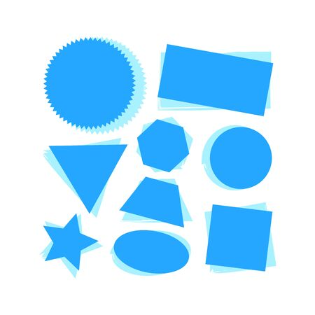 Badges, labels and stickers without text on retail. Designed in blue. vector illustration on white background.