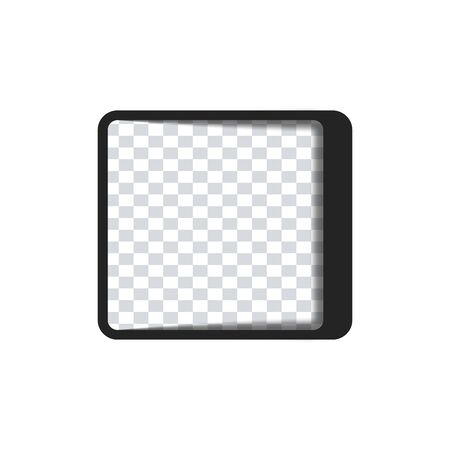 Text quote rectangle. Simple icon. Black glass icon with soft shadow on transparent background