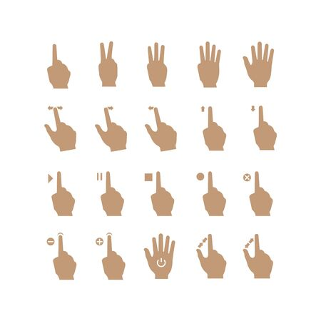 touch screen gesture, interface vector hand icons set 向量圖像