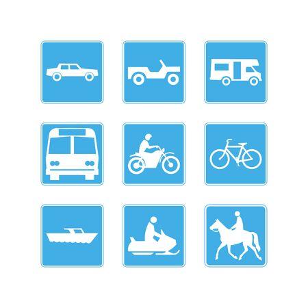 Set of vector transportation icon on blue background vector illustration 向量圖像