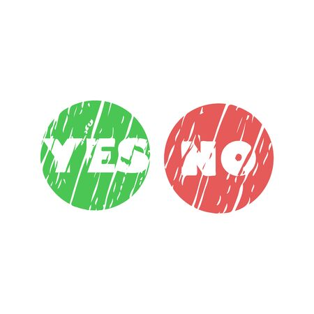Yes and no banners with check and cross symbols, vector eps10 illustration