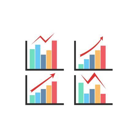Color Graph Chart Icons Set. Vector illustration