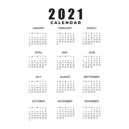 Simple calendar Layout for 2021 years. Week starts from Sunday. 向量圖像