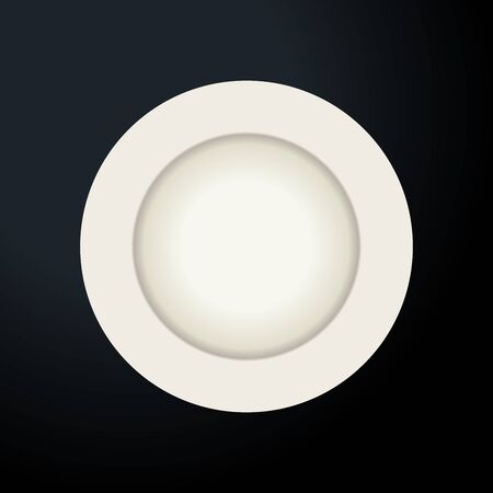 Plate, isolated vector object on a transparent background. White kitchen appliances utensils for eating, Illustration for your projects. 向量圖像