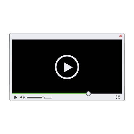 White video player template, vector eps10 illustration
