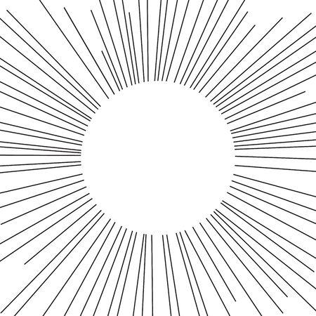 Vintage sunburst. Hand drawn vector illustration