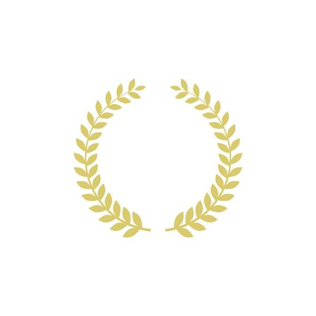 Five-pointed star vector icon with laurel wreath. Modern flat golden star illustration. 向量圖像