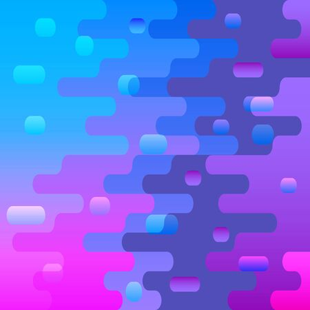 Modern geometric background with various rounded shapes in color. Abstract banner. Vector illustration of dynamic composition