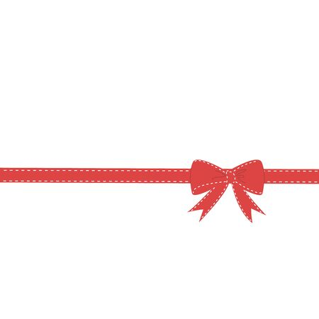Shiny red satin ribbon on white background stock vector illustration.