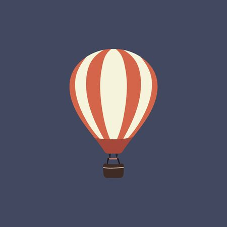 Hot air balloon icon on blue background Stock vector illustration.