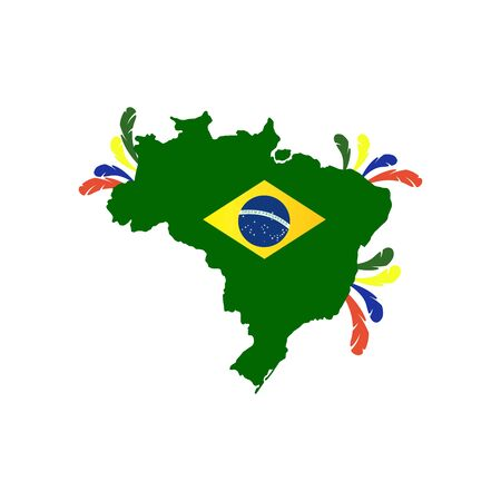 Brazil . Map of Brazil with country name and flag. Amazing vector illustration. Stok Fotoğraf - 145382297