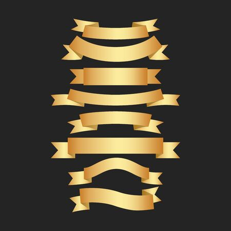 Golden ribbons vector set on black background. Premium ribbons set. Vector illustration. 向量圖像