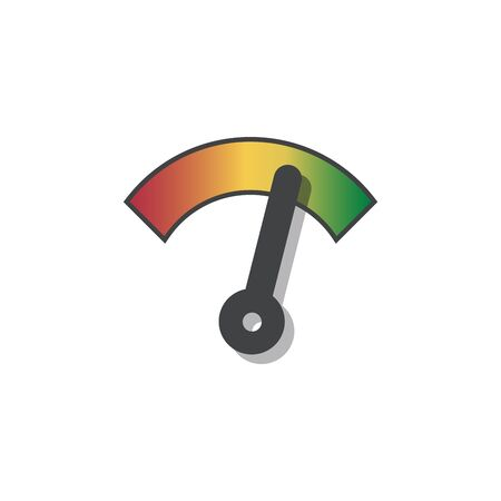 Speedometer or rating meter signs infographic gauge element. Vector illustration on white background.