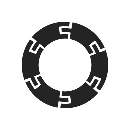 Circle Logo with lines.Square unusual icon Design .frame with Vector stripes .Geometric shape. stock illustration EPS10 向量圖像