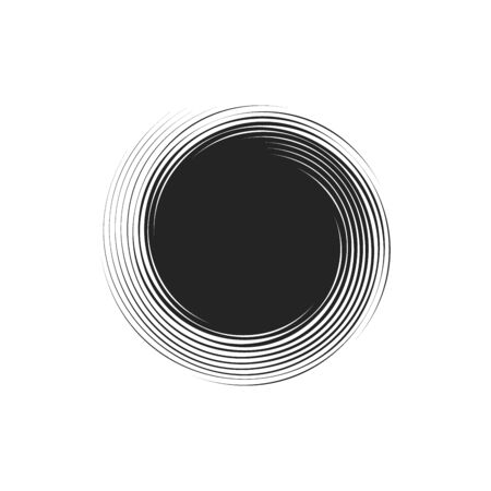 simple black spiral elements on white background, isolated stock vector illustration