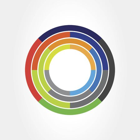 360 degrees view Related Vector graphic element that can be used as a logo or icon for your Design. Modern style with colorful circle lines Çizim