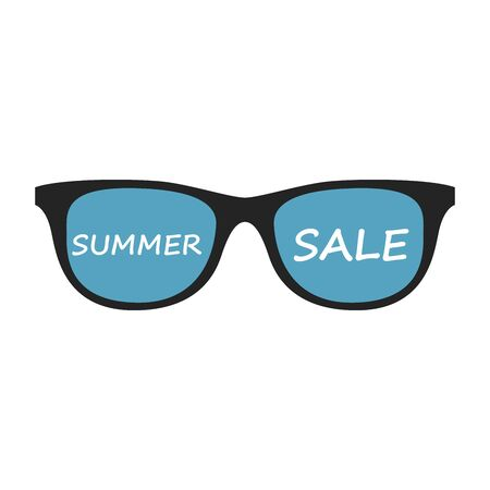 super summer sale banner - text in sunglass drawn label with sun symbol, business seasonal shopping concept, vector.