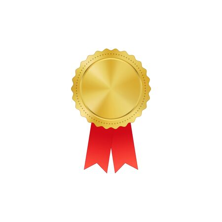 Vector gold medal on red ribbon with relief detail of laurel wreath and reflections conceptual of an award for victory