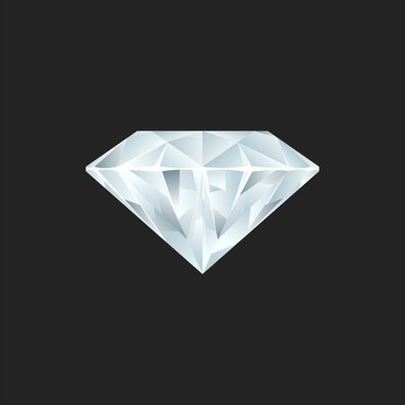 Vector illustration of a realistic diamond. No gradient mesh. Çizim
