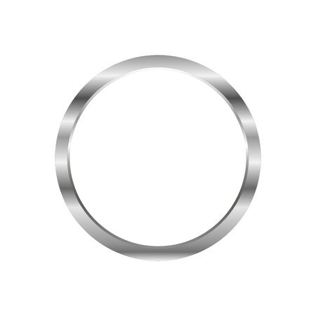 Vector Blank Metal Round Keychain with Ring for Key Isolated on White Background