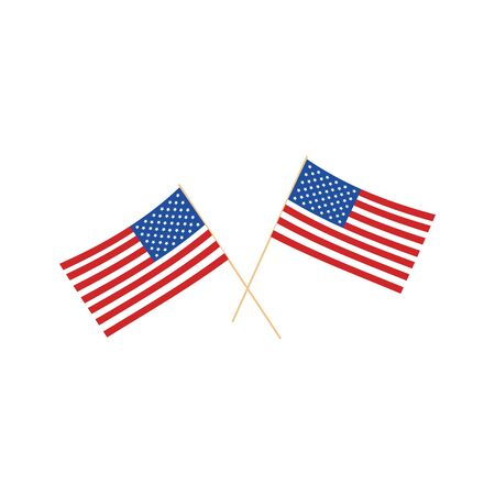 American Flags. Flags of USA. Vector illustration