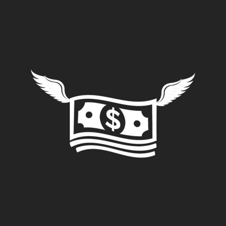 stack of money with wings flat design vector icon. 版權商用圖片 - 147255001