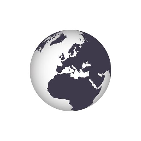Earth Icon. Vector globe with a gradient world map isolate on white background. Stok Fotoğraf - 147865455