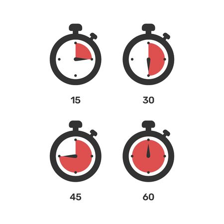 Set of red timers, vector eps10 illustration. Stopwatch icons vector illustration on white background.