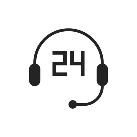 support icon, timer 24 hours and headphone, pixel perfect editable stroke vector illustration