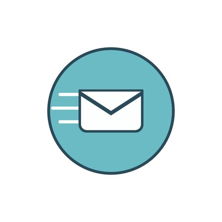 Mail icon. Envelope sign. Vector Illustration. blue background. Email icon. flat style