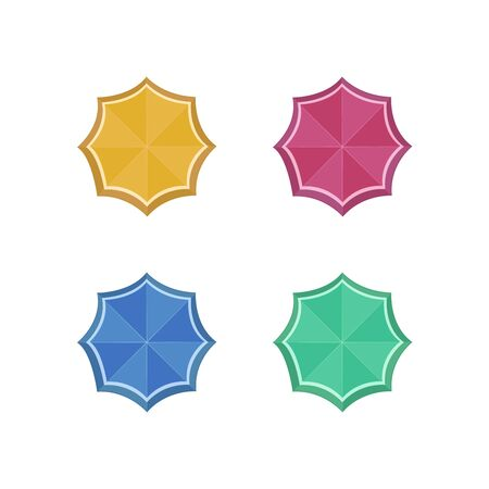 Beach sun umbrellas top view vector icons. Set of parasol with colored striped pattern illustration Stok Fotoğraf - 147256670