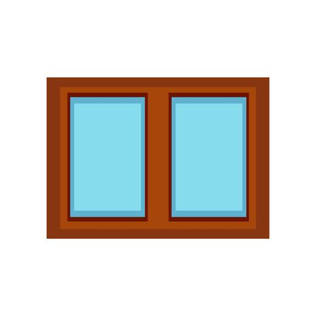 Illustration of a window made of wood and glass on a white background Çizim